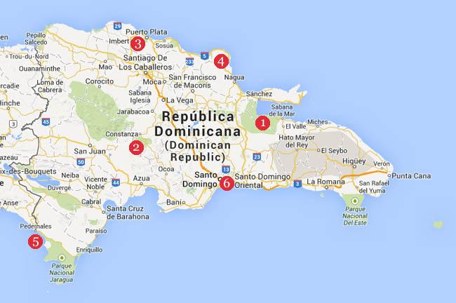 Kaart Dominicaanse Republiek